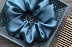 Jedwabna gumka typu scrunchie frotka basic szaro-błękitna