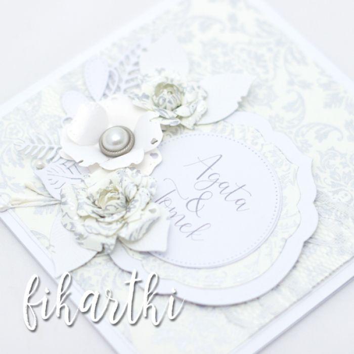 kartka ślubna z imionami i kompozycją KSK2010 - kwiaty
