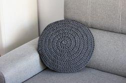 Okrągła poduszka ze sznurka ciemno szara