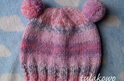 Zimowa czapka pastel róż-fiolet