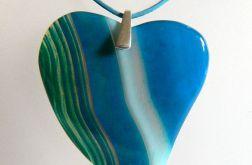 Niebieskie serce z agatu, zestaw, srebro