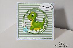 Kartka na Roczek zielony dinozaur