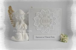 Zaproszenia IHS biało srebrne