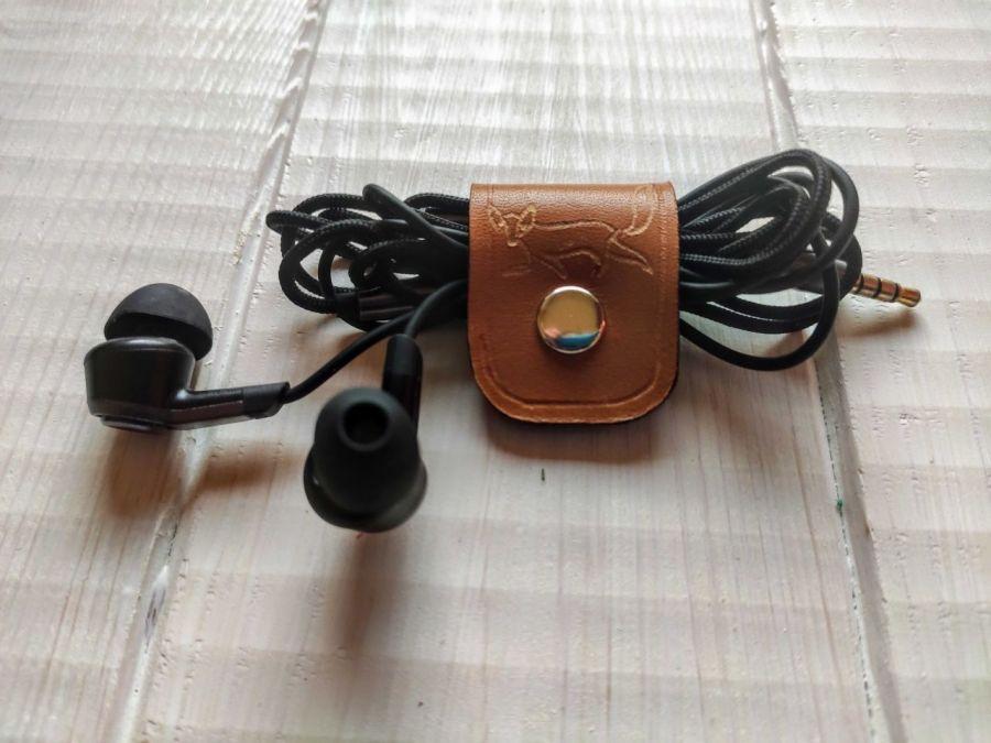 Organizer na słuchawki z lisem - organizer na kable ze skóry