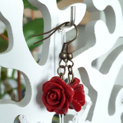 Kolczyki handmade różyczki czerwone