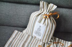 Niewielki woreczek na prezent w beżowe paski