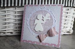 Kartka na Chrzest różowa aniołek kokardka