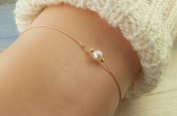 Bransoletka sznurek, perła, boho, minimalizm