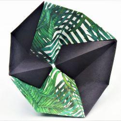 Geometryczna miseczka origami w liście palmy