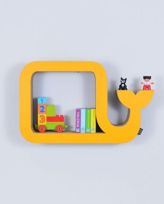Półka na książki WIELORYB | żółty