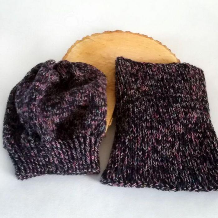 Komin i czapka melanżowy - zimowy komplet
