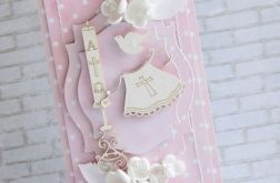 Różowy komplet na chrzest dla dziewczynki