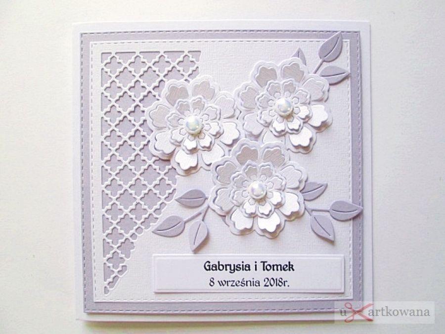 Kartka ŚLUBNA biało-fioletowa #1 /Z - Kartka na ślub z białymi kwiatami