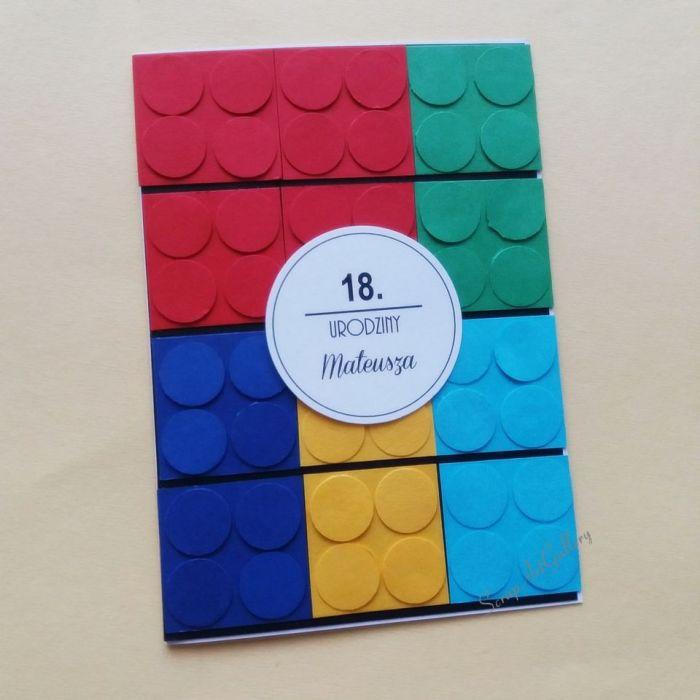 Kartka kolor Klocki lego