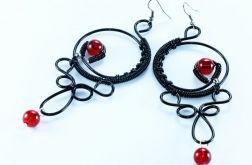Kolczyki wire wrappin długie czarno czerwone