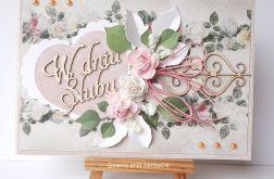 Kartka ślubna z różami