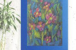 Rysunek kwiaty na granatowym tle nr 13 szkic