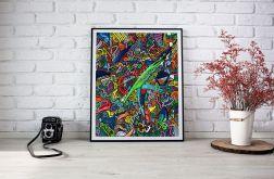 """Plakat A3 """"cZASNASZ"""". Kolorowa abstrakcja"""