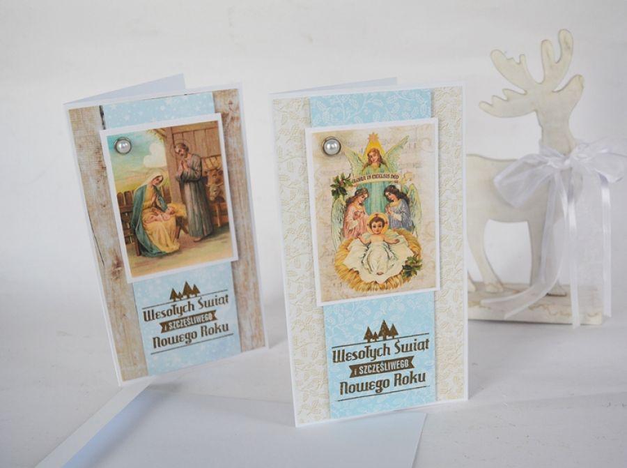 Klasyczne kartki świąteczne - zestaw 2 białe.