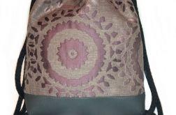 Plecak damski młodzieżowy fiolet wzór