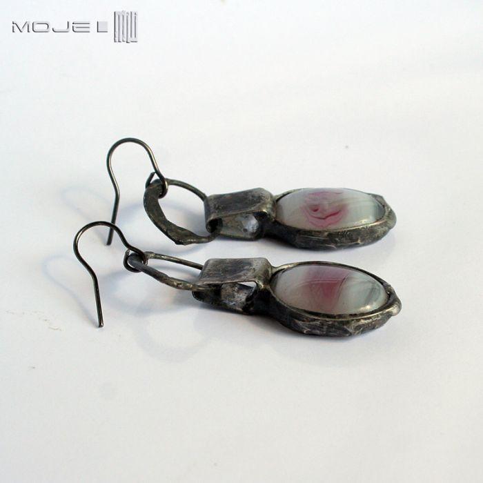 Szklaki białoróżowiaki - wiszące kolczyki