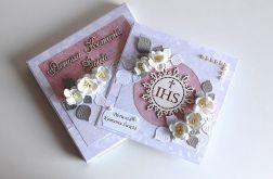 Kartka na Komunię Świętą w pudełku różowa