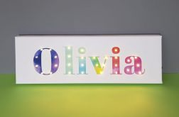 Personalizowany obraz LED tęczowe litery