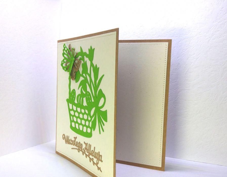 Kartka wielkanocna - koszyczek zielony nr 1 - kartka do samodzielnego wypisania