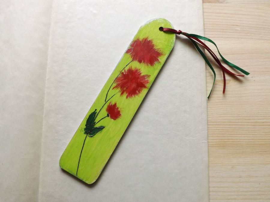 Zakładki malowane - Kwiaty w zieleni 2