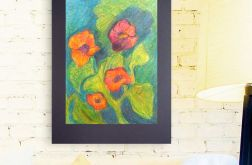 Rysunek kwiaty na czarnym tle nr 7