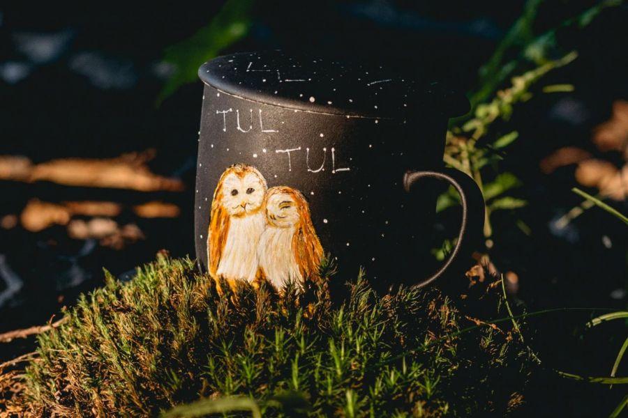 Kubek artystyczny z zaparzaczem - zakochane sowy - Kubek sowy