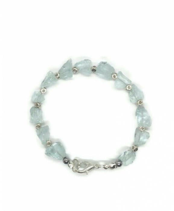 Bransoletka z surowych kryształów topazu - Subtelna bransoletka z naturalnych surowych topazów