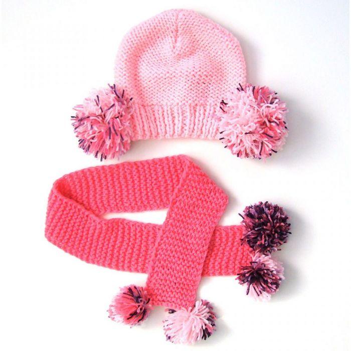komplet pomponiasty;) czapka i szalik