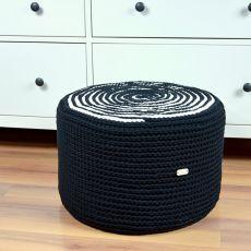 Puf czarno-biały, większy, na piance tapicer.
