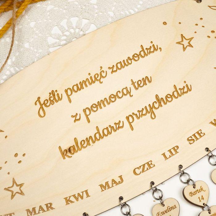 Kalendarz urodzin, kalendarz rodzinny - kalendarz rodzinny, drewniany kalendarz