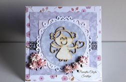 Kartka na Chrzest różowa aniołek astry