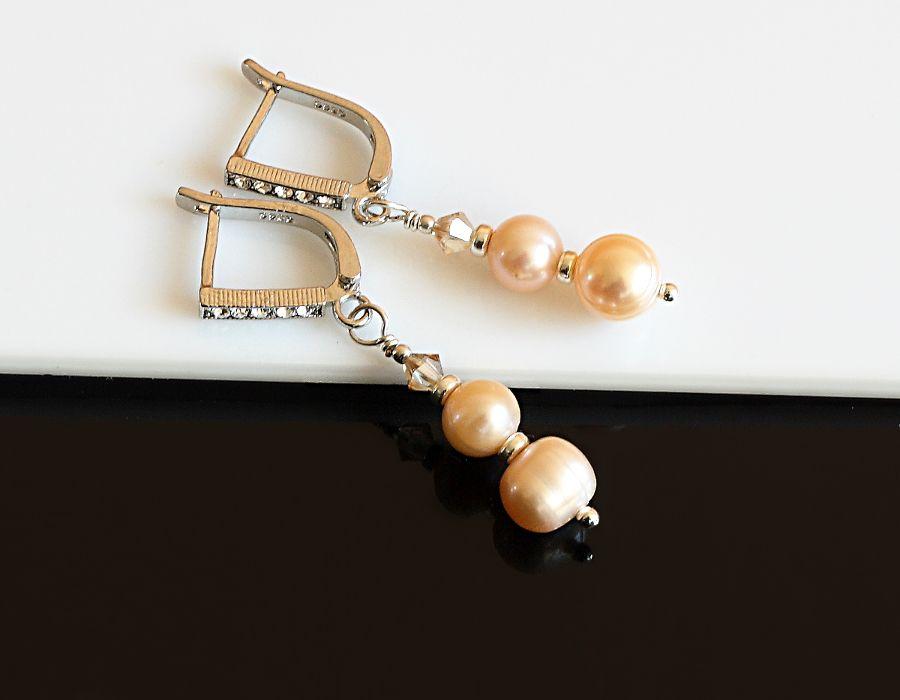 Złociste kolczyki - perłowe kolczyki