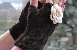 Brązowe rękawiczki mitenki - krótkie