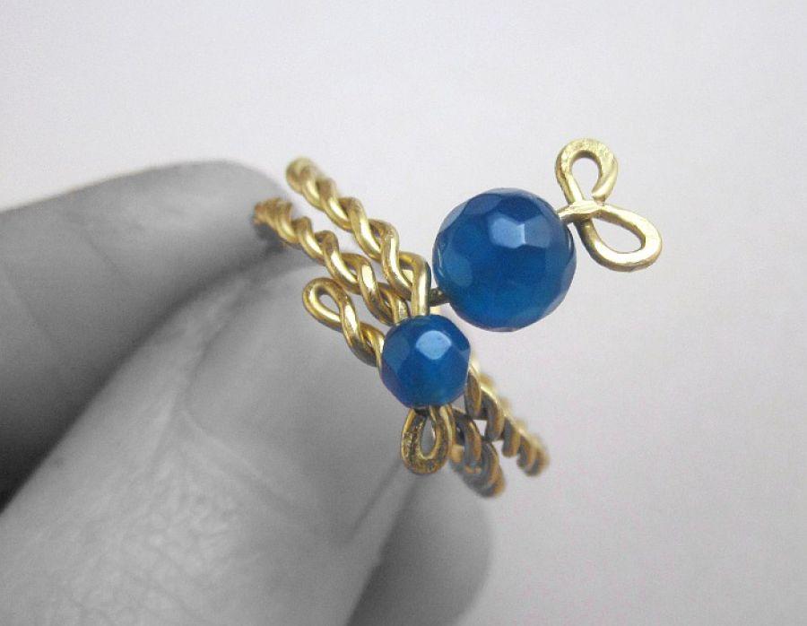 Pierścionek - Dwa niebieskie onyksy