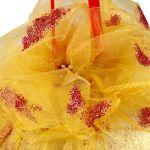 SwS Bardzo duża złota bombka 18 cm - Zbliżenie kwiatka na czubku