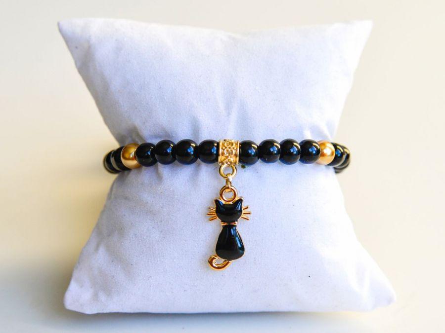 Bransoletka z koralików czarny kot kotek BOHO