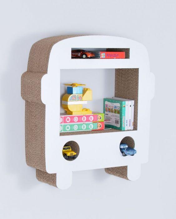 Półka na książki zabawki AUTOBUS | biały