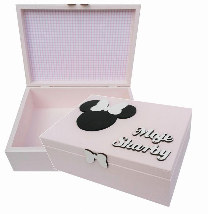 Pudełko bez przegródek- Myszka Minnie - Mm08 - drewniana szkatułka prezent dla dziewczynki