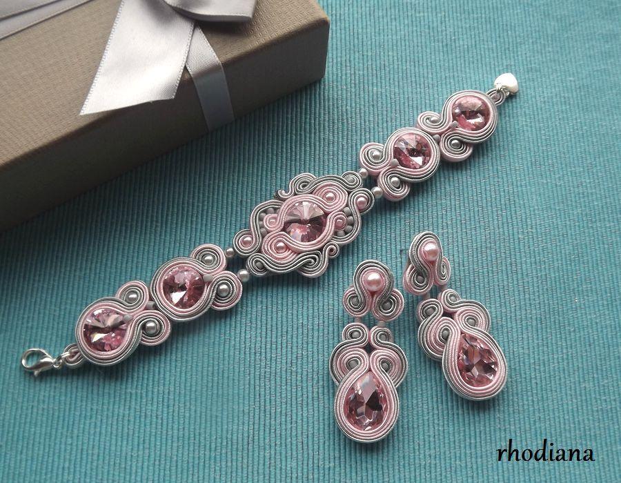 Szaro Różowy komplet sutasz - Szaro różowy komplet sutasz bransoletka kolczyki Rhodiana Sutasz