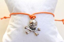 Bransoletka sznurkowa kabbalah czaszka pirata
