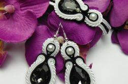 Komplet kryształowy biały czarny soutache