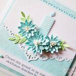 Kartka PAMIĄTKA CHRZTU ze świecą #15 - Pamiątka Chrztu Świętego z niebieskimi kwiatuszkami