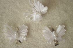 Białe motylki - spinki