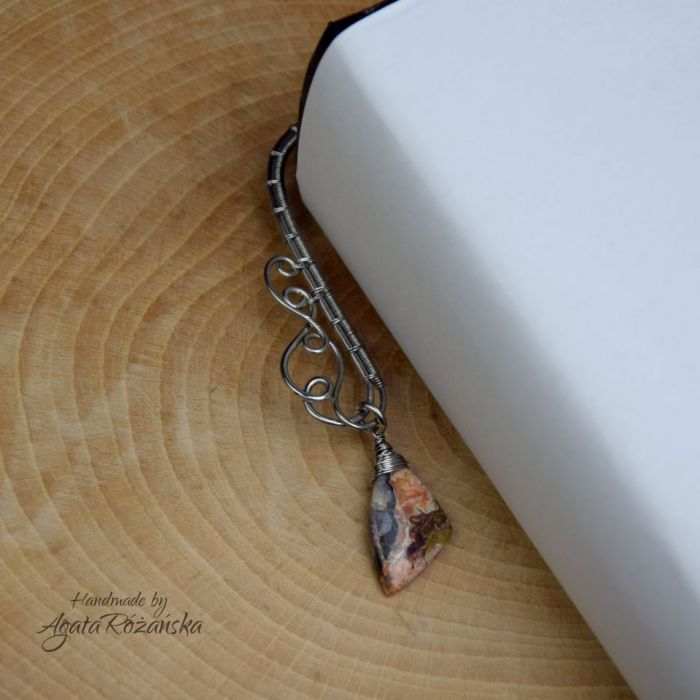 Zakładka do książki metalowa agat koronkowy - Bardzo oryginalna