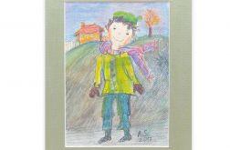 Chłopczyk w szaliku obrazek do pokoju dzieci